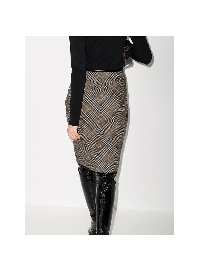 Midi Pencil Skirt in Wool Check Print in Beige/Black