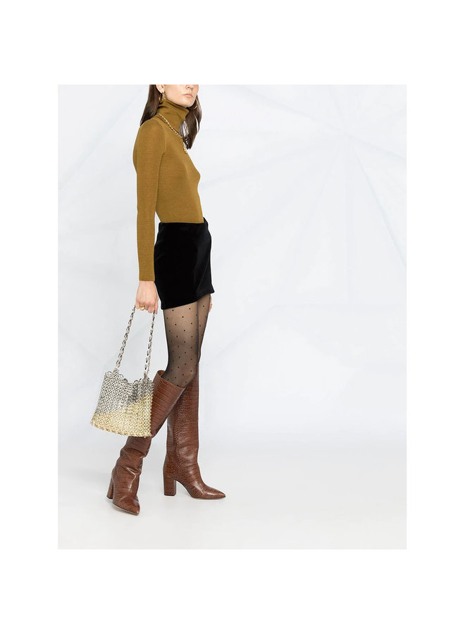 Turtleneck Ribbed Top in Cashmere Wool in Mustard
