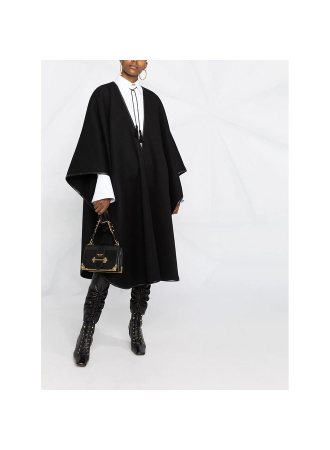 Oversized Poncho Cape in Cashmere Wool in Black