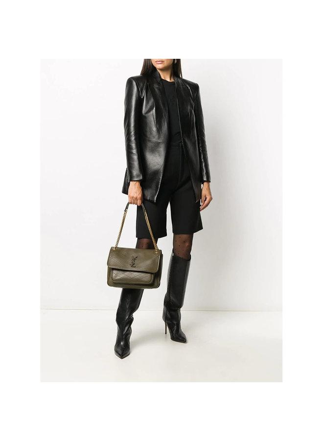 Niki Medium Shoulder Bag in Calf Leather in Anemone/Gold
