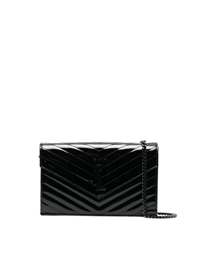 Large Chain Wallet Crossbody Bag in Patent Leather in Black