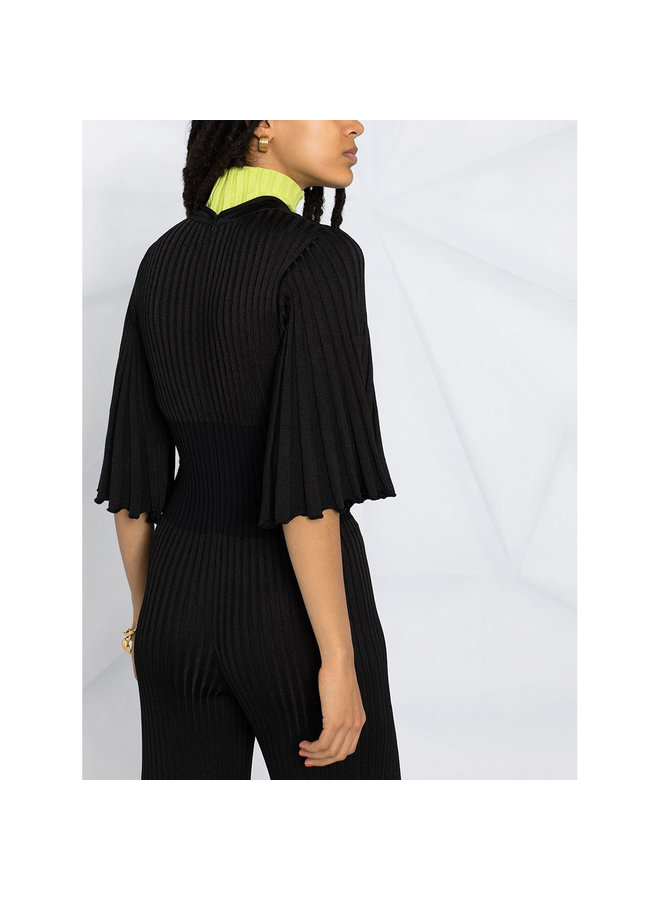 Full Length Pleated Jumpsuit in Black