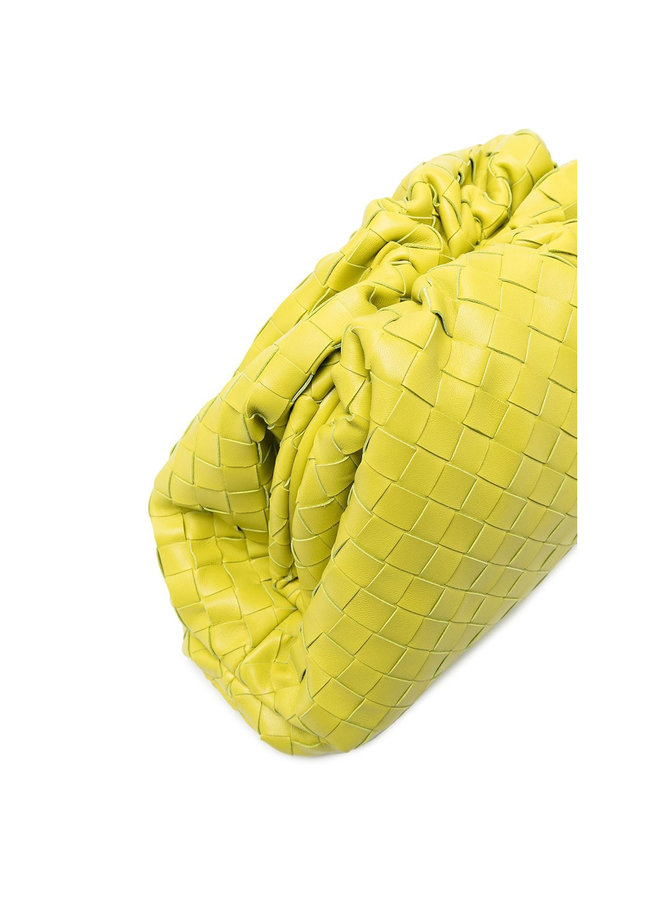 Large Pouch Clutch Bag in Intrecciato Leather in Kiwi
