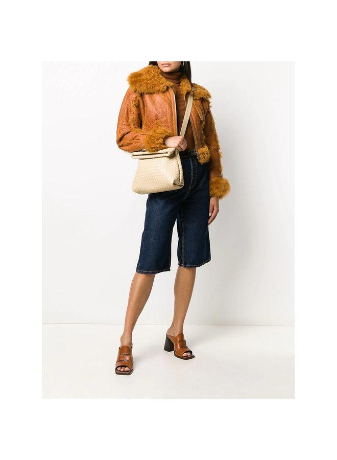 Small Crossbody Bag in Intrecciato Leather in Porridge