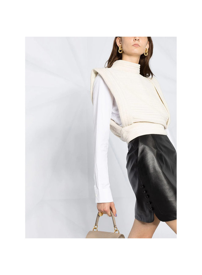 Cropped Top with Structured Shoulders in Cotton in Ecru