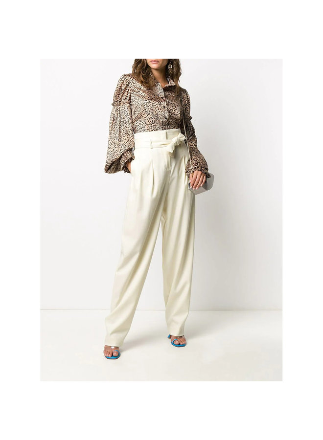 Oversized High Waisted Pants in Wool in Off White