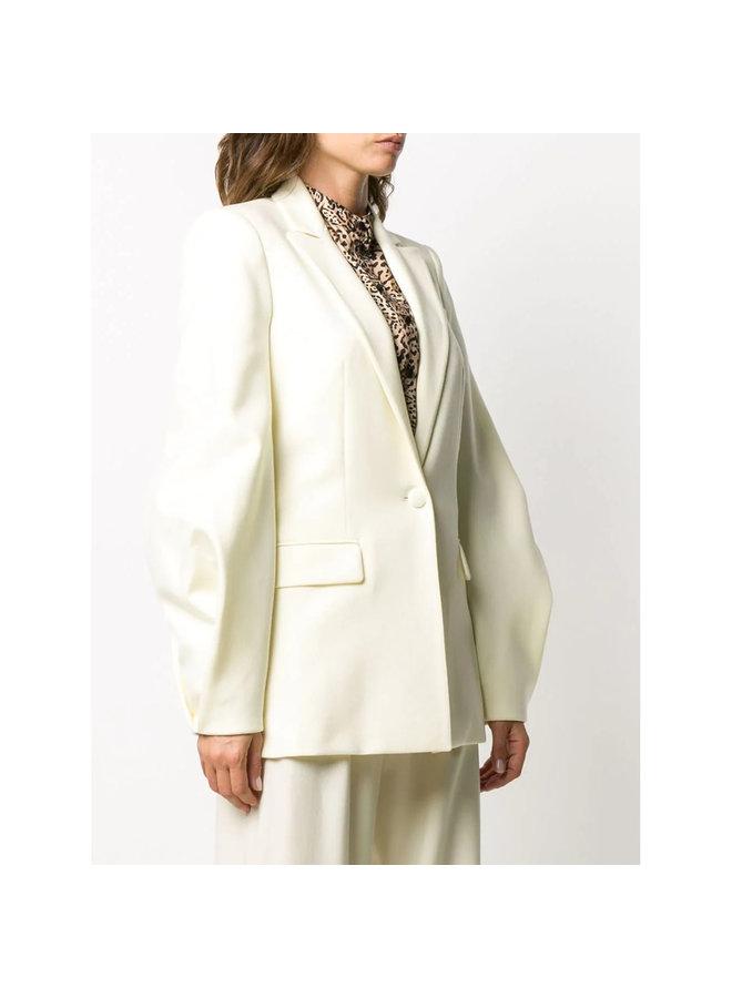 Balloon Sleeve Blazer Jacket in Wool in Off White