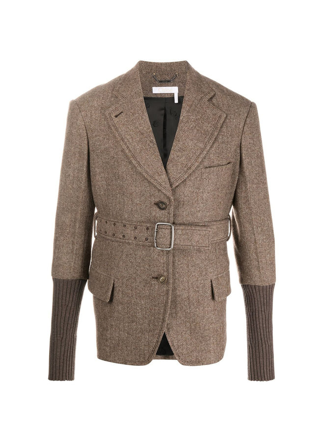 Single Breasted Jacket with Belt in Wool in Sunburned Brown