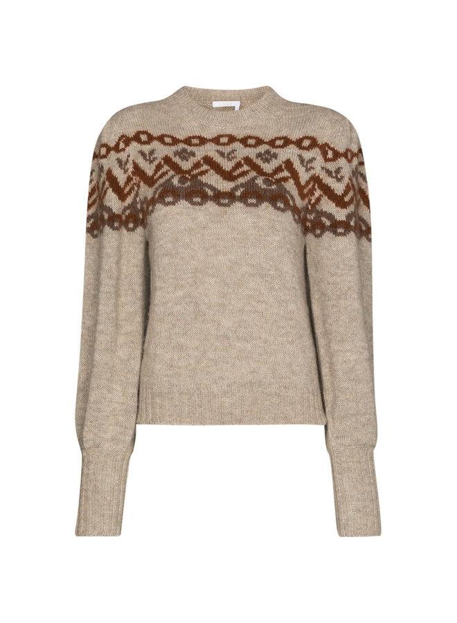 Puff Sleeve Knitted Jumper in Wool in Beige