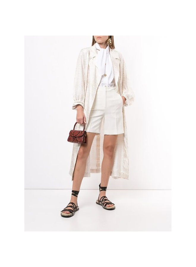 Long Belted Printed Coat in Silk in Multi White