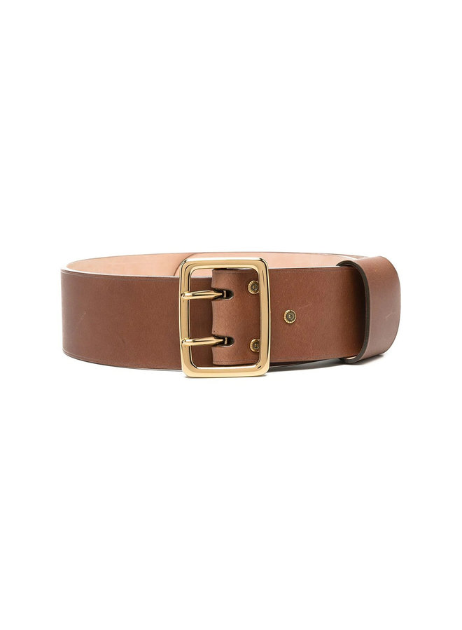 Square Buckle Belt in Leather in Canyon Brown