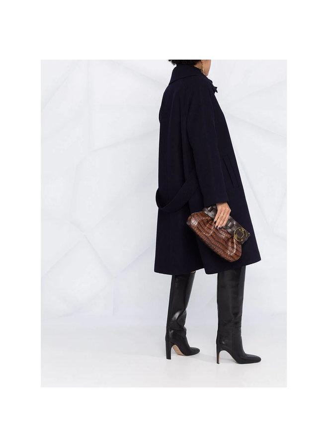 Darryl Clutch Bag in Crocodile Embossed Leather in Dark Ebony