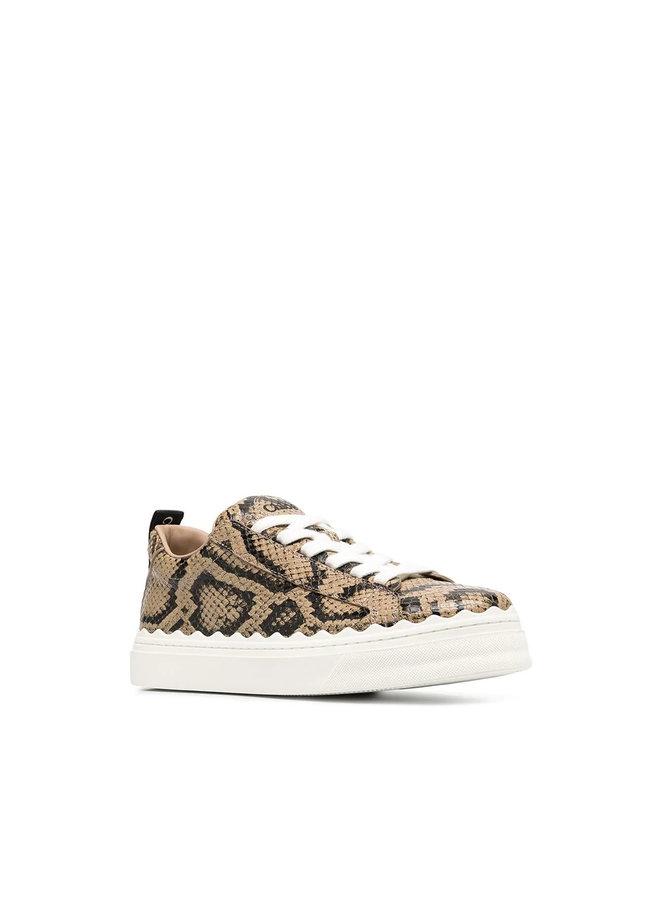 Low Top Sneakers in Snake Print Leather in Dark Greige