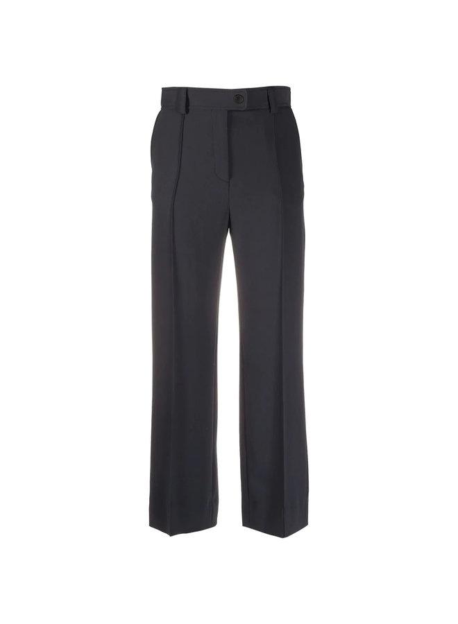 High Waisted Cropped Pants in Asphalt Black