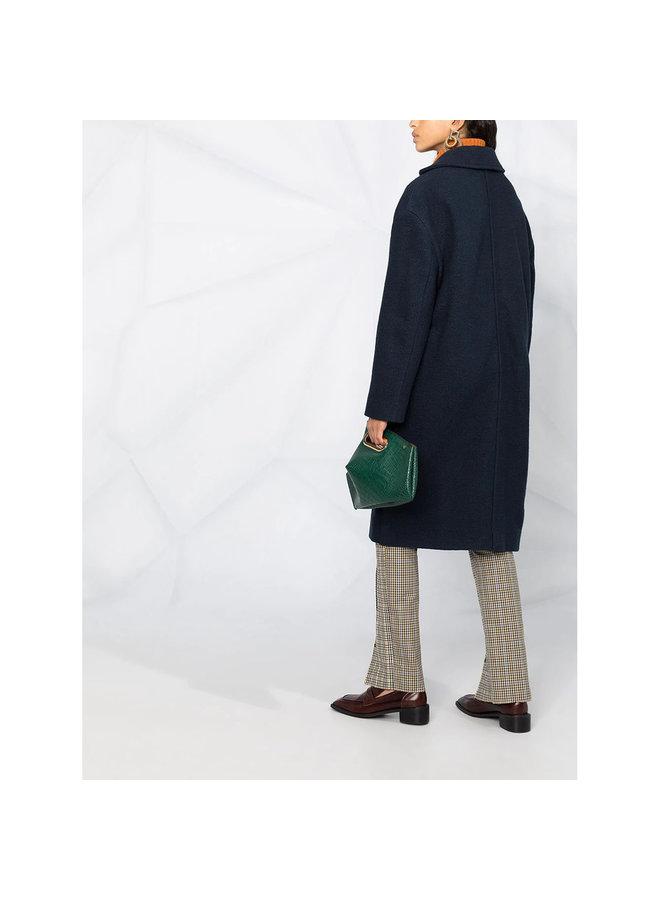 Single Breasted Long Coat in Wool in Dark Blue