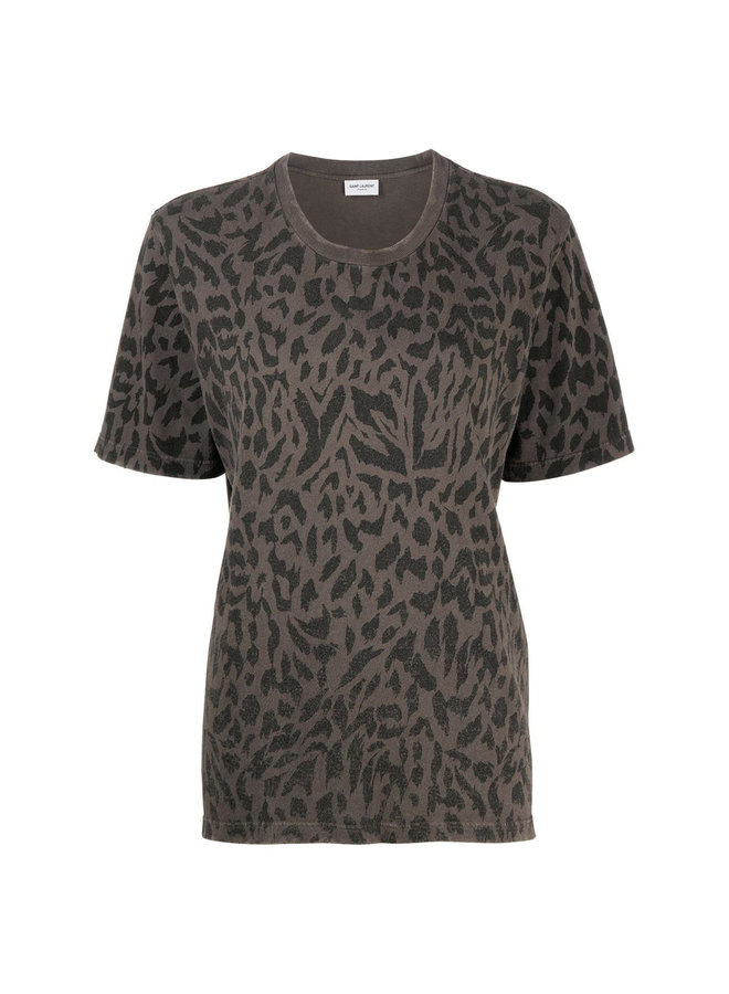 T-shirt in Animal Print in Cotton in Grey