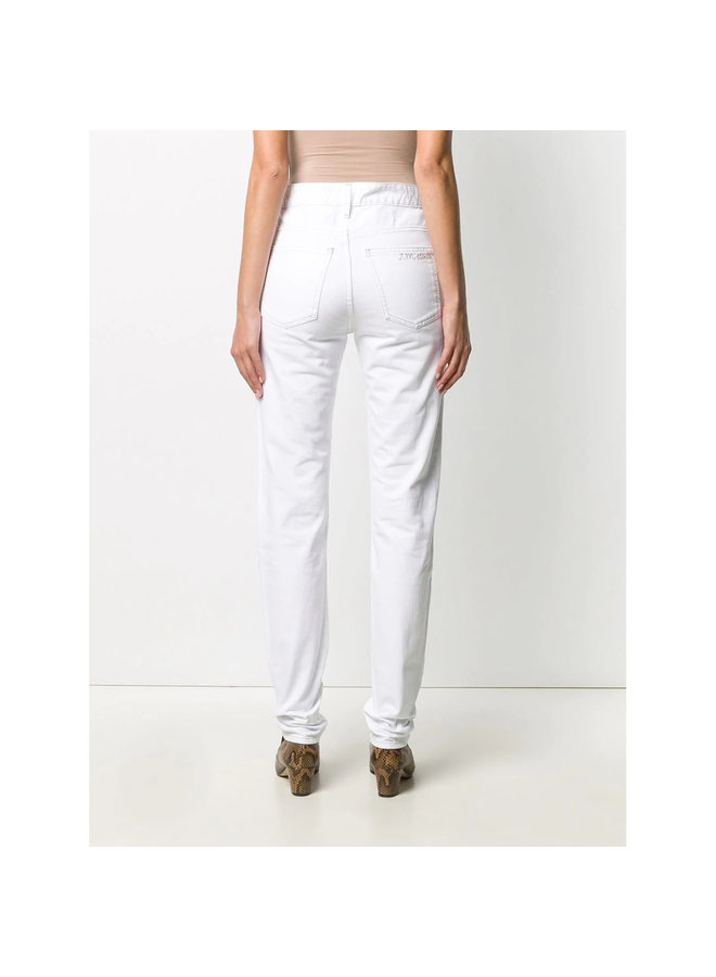 High Waisted Straight Leg Jeans in Cotton in White