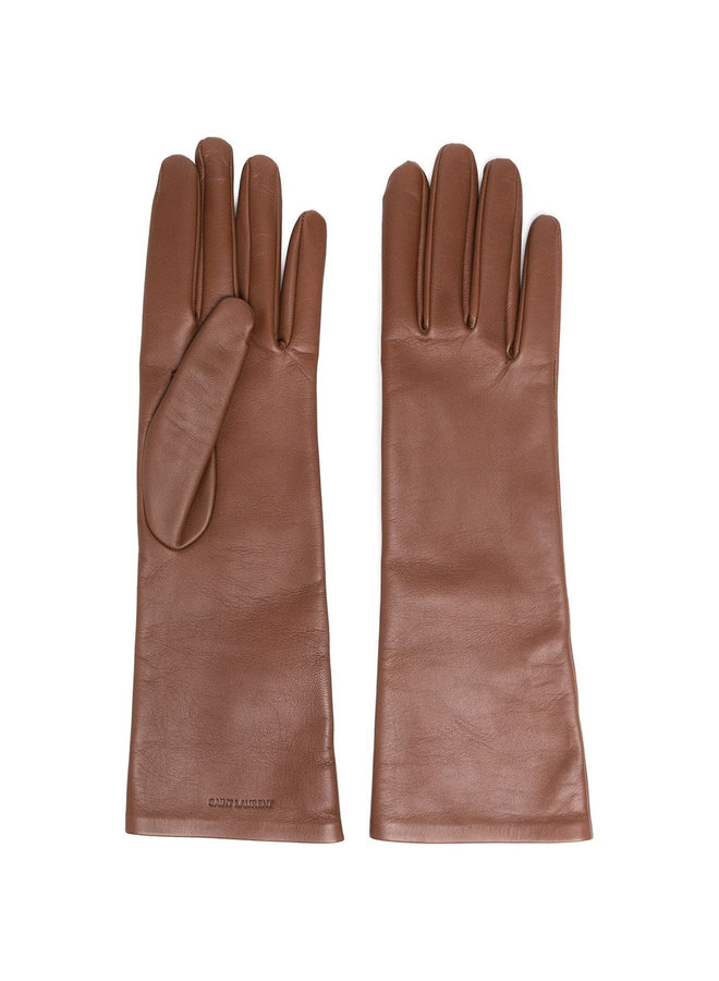 Debossed Logo Long Gloves