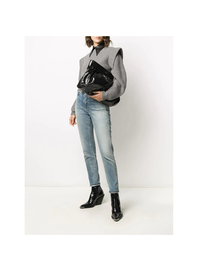 Luzel Clutch Bag in Leather in Black