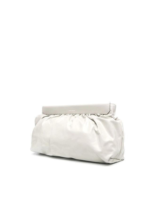 Luzel Clutch Bag in Leather in Chalk