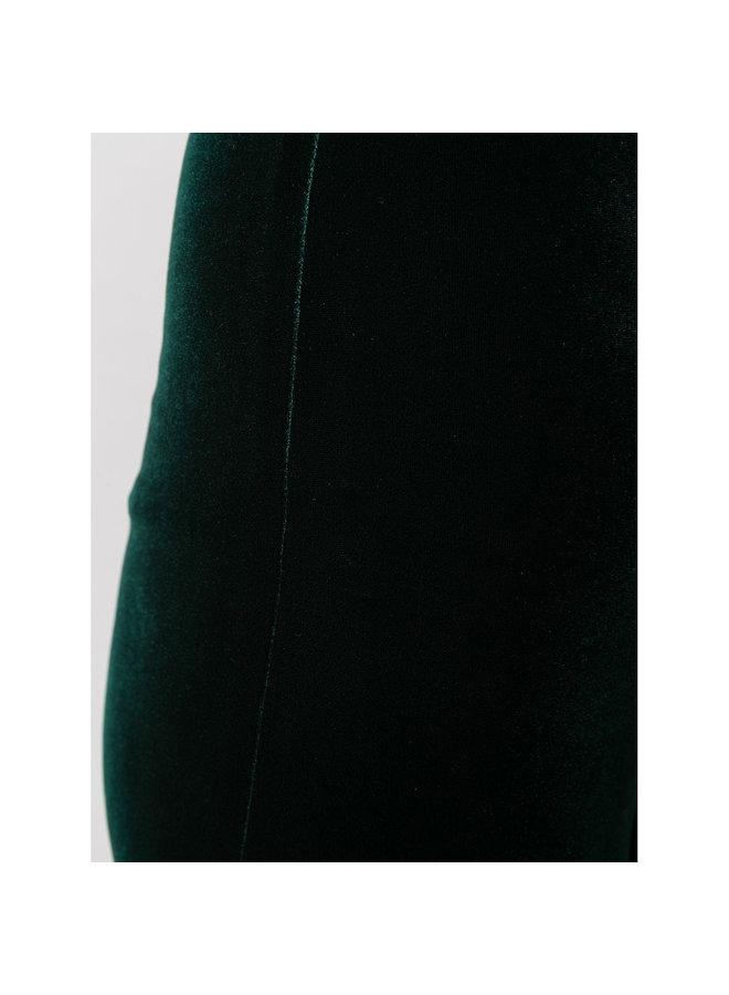 High Waisted Flared Pants in Velvet in Hunter Green