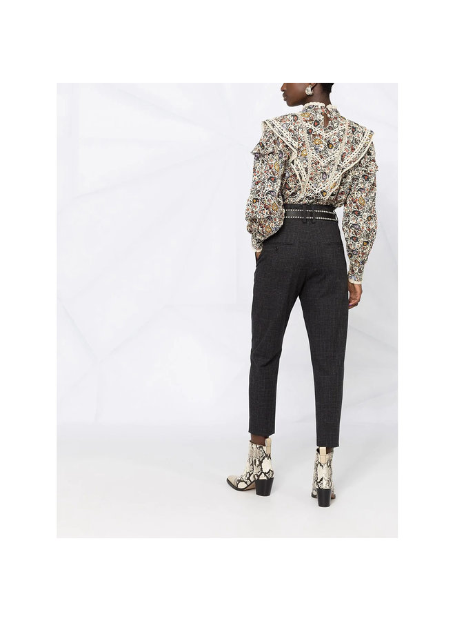 High Waisted Cropped Pants in Wool in Black