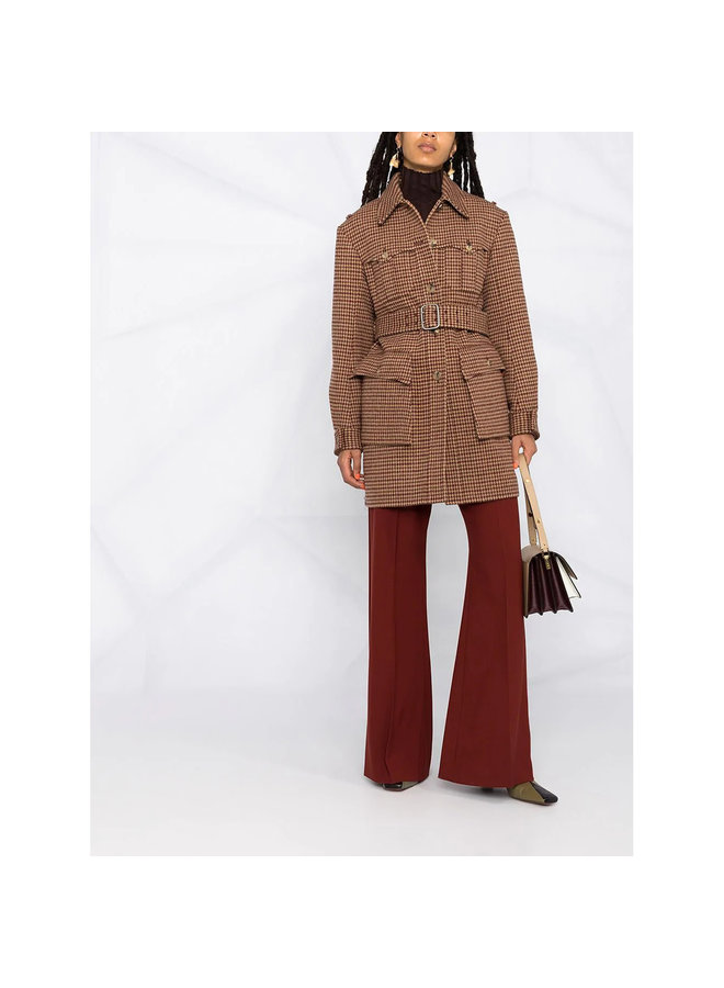 High Waisted Flare Pants in Wool in Wildwood Brown