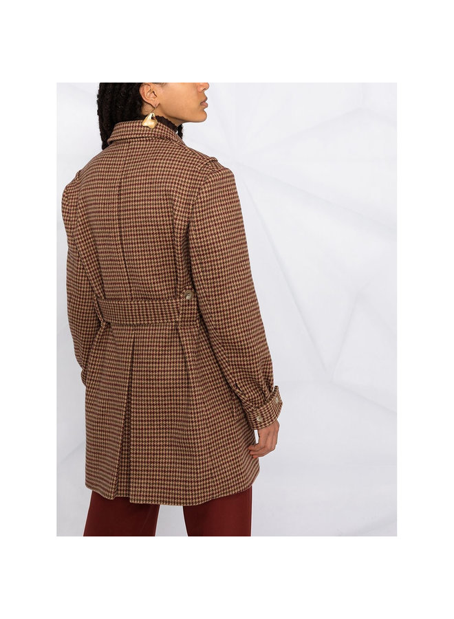 Check Belted Jacker in Wool in Antique Brown