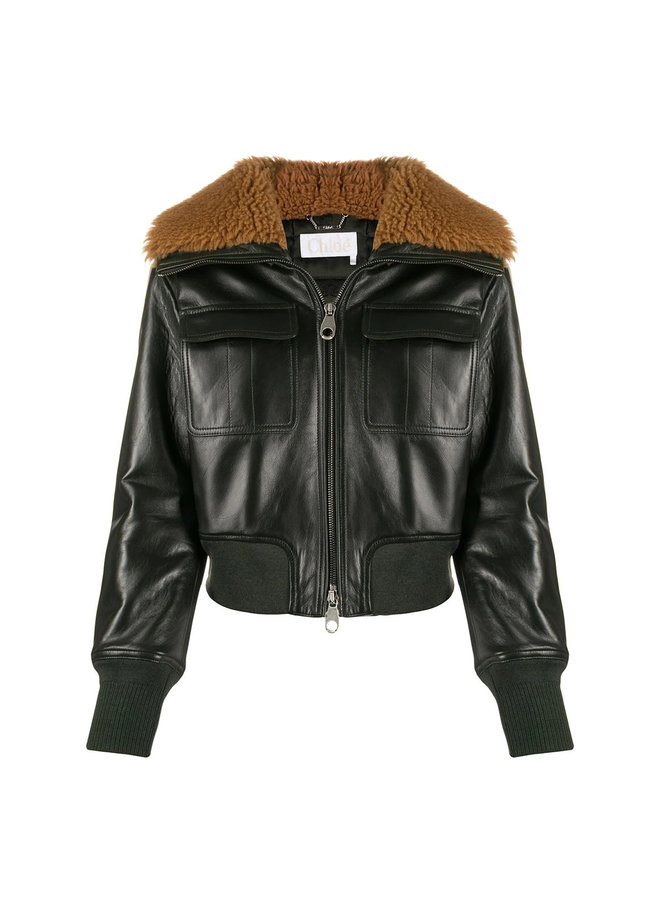 Shearling collar Leather Bomber in Deep Green