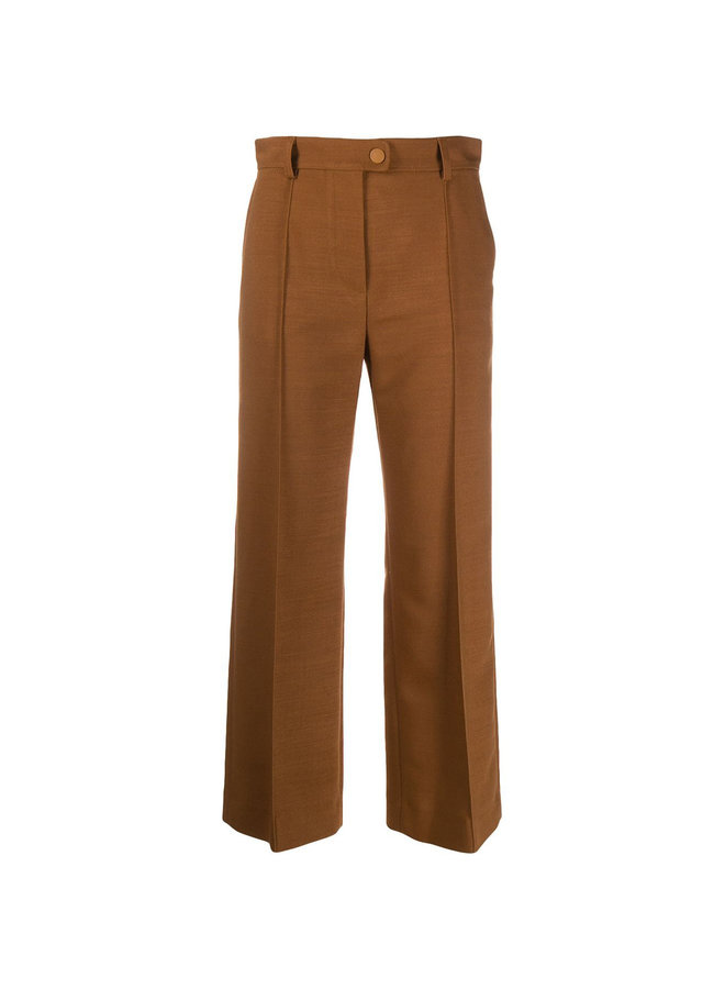 High Waisted Cropped Flare Pants in Wool in Pottery Brown