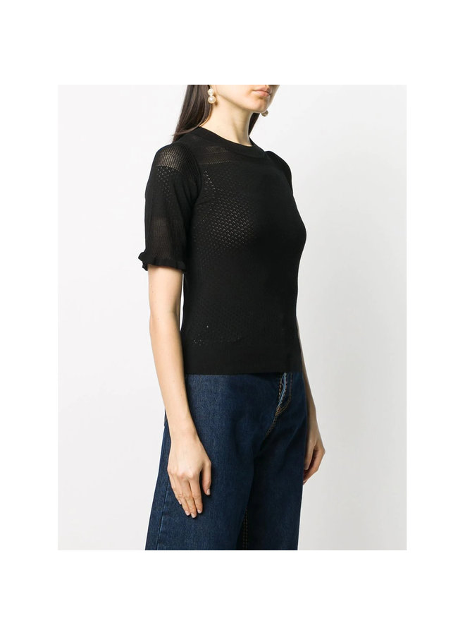Short Sleeve Knitted Top in Black