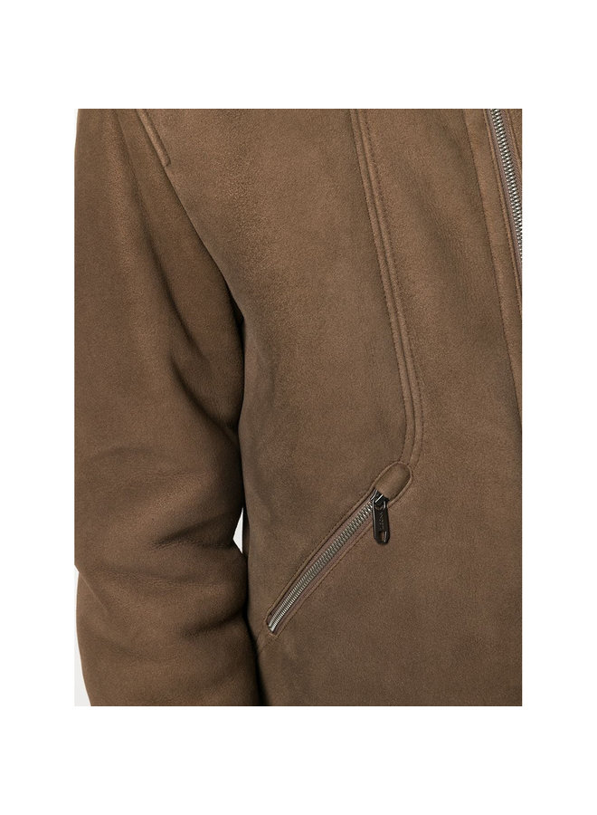 Bomber Jacket in Shearling Fur in Brown