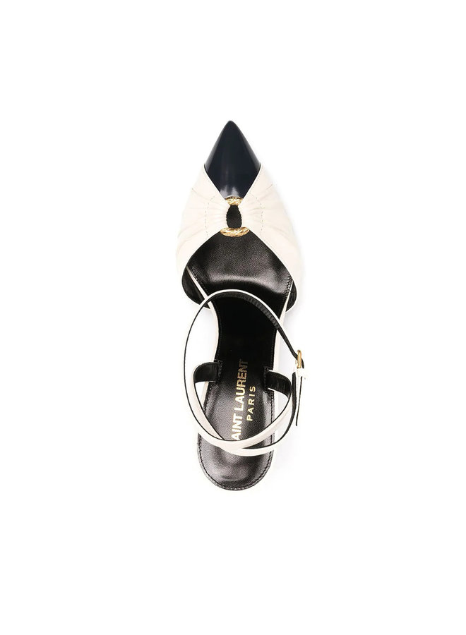Alma High Heel Pump in Leather in Pearl/Navy