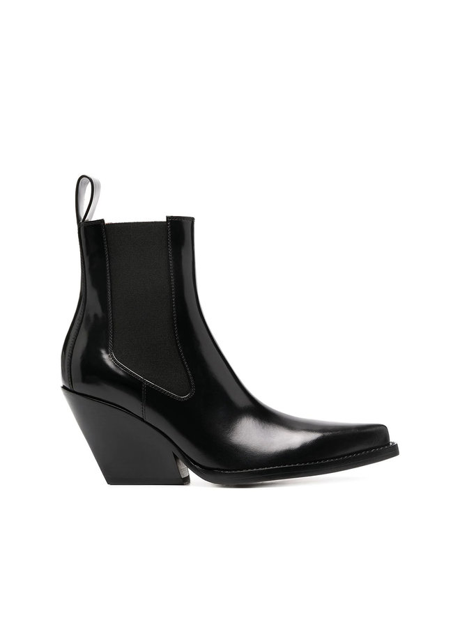 Lean Mid Heel Ankle Boots in Calf Leather in Black