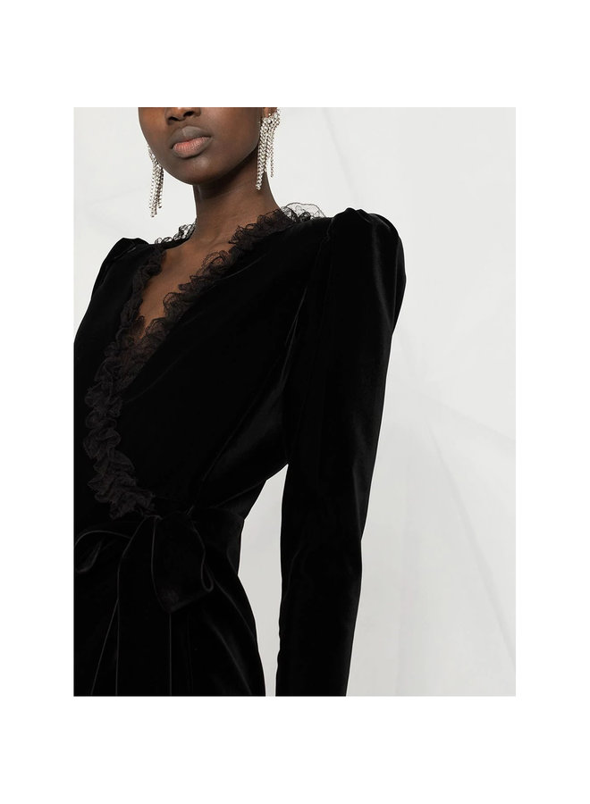 Wrap Dress with Lace Details in Velvet in Black