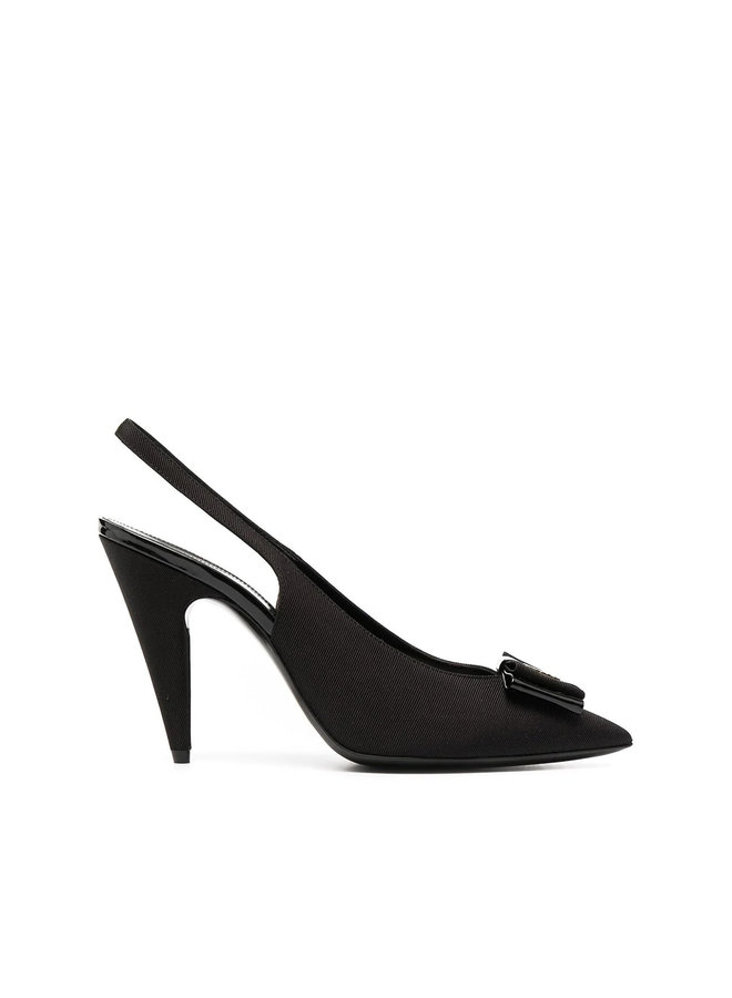 High Heel Slingback Pump with Bow Detail