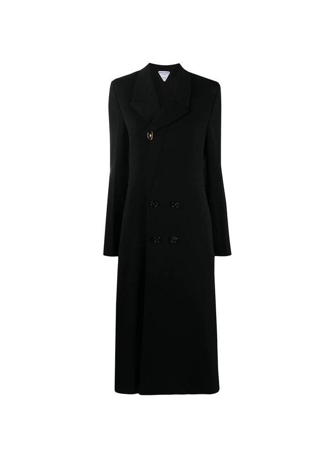 Double Breasted Coat in Wool in Black