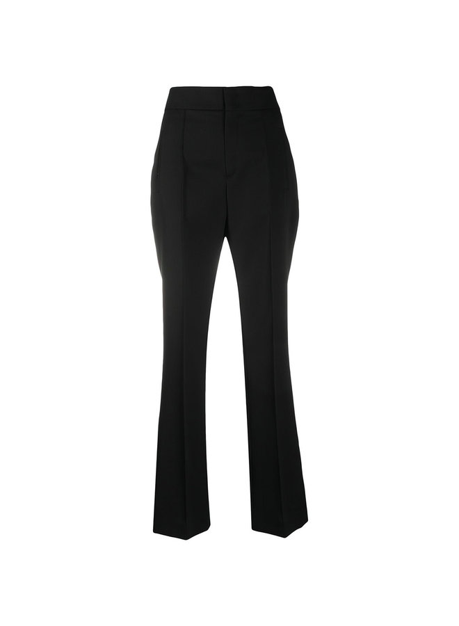 High Waisted Flared Pants in Wool in Black