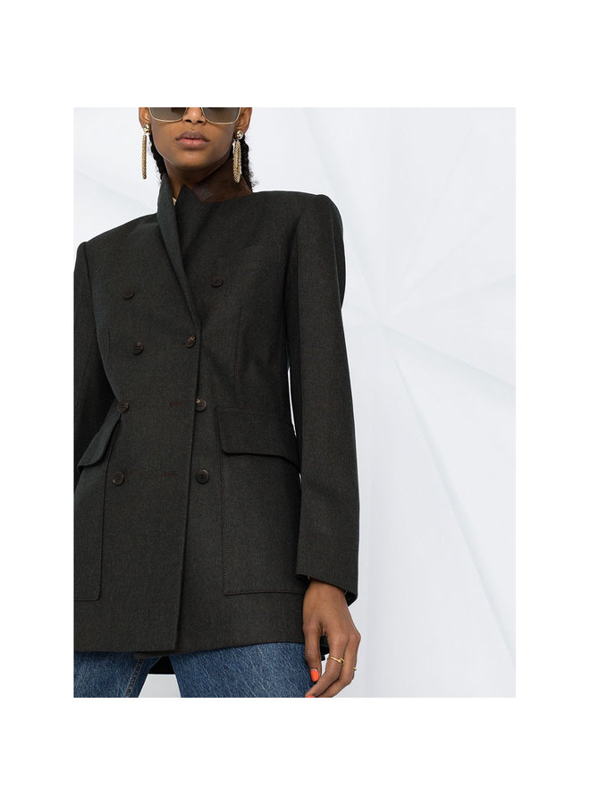 Double Breasted Blazer Jacket in Cashmere Wool in Brown
