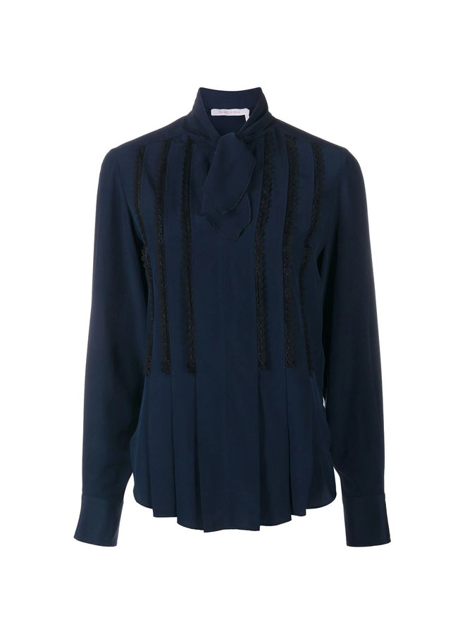 Long Sleeve Blouse Front Bow Fastening