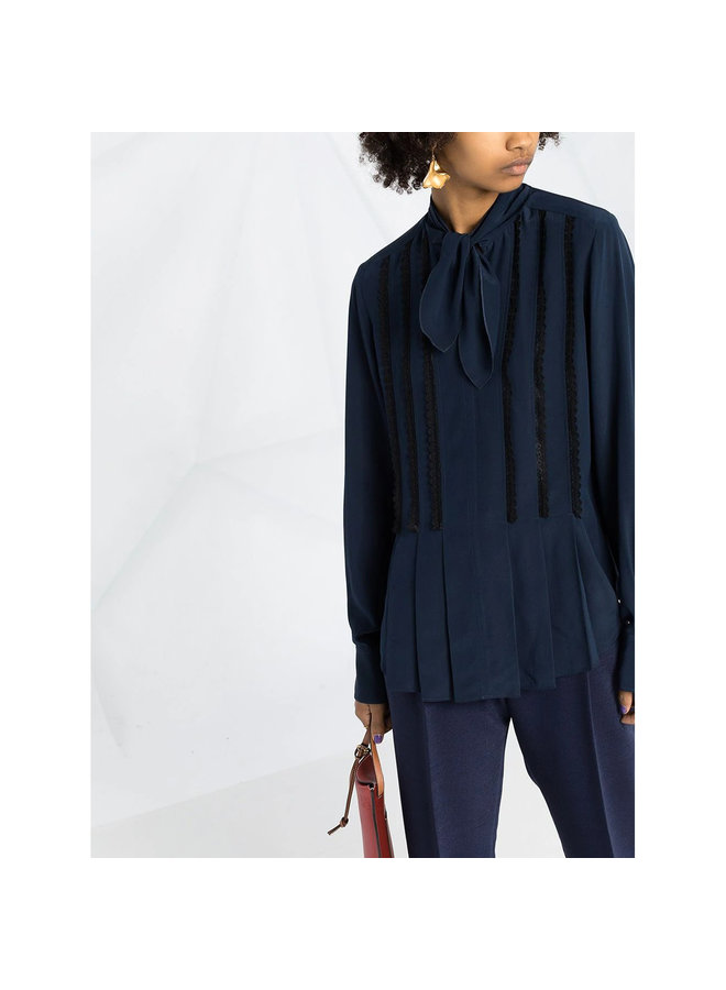 Long Sleeve Blouse Front Bow Fastening in Silk in Navy