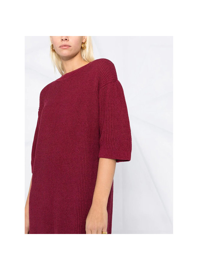 Short Sleeve Knitted Dress in Cotton in Burgundy