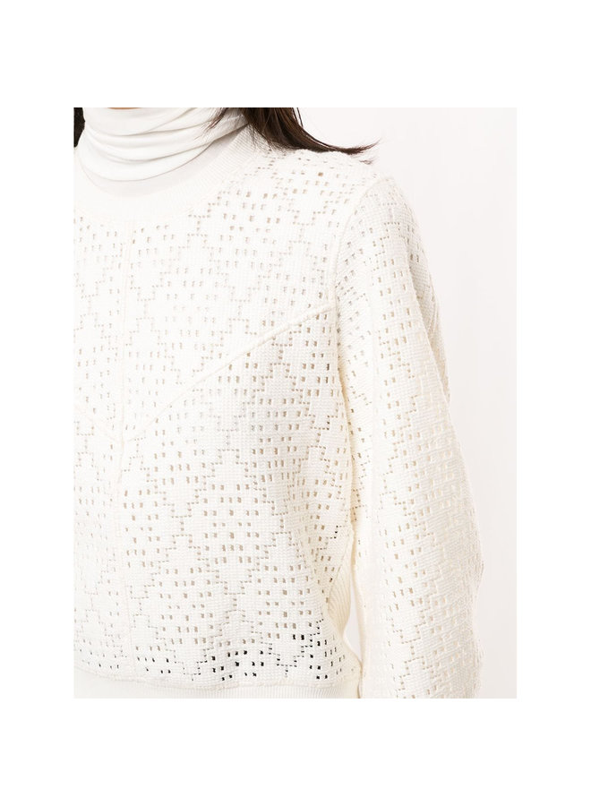 Knitted Sweatshirt in Cotton in Crystal White