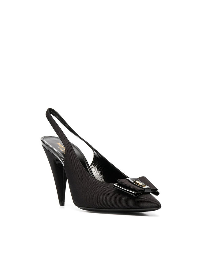 High Heel Slingback Pump with Bow Detail in Black