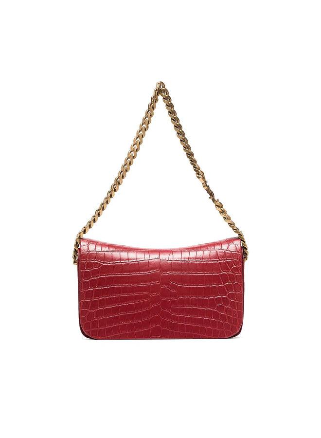 Elise Shoulder Bag in Embossed Croco in Rouge Opyum