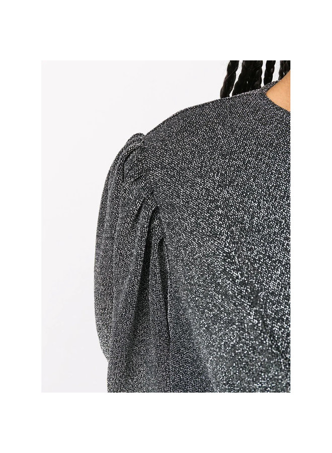 Long Sleeve Top in Lurex in Silver