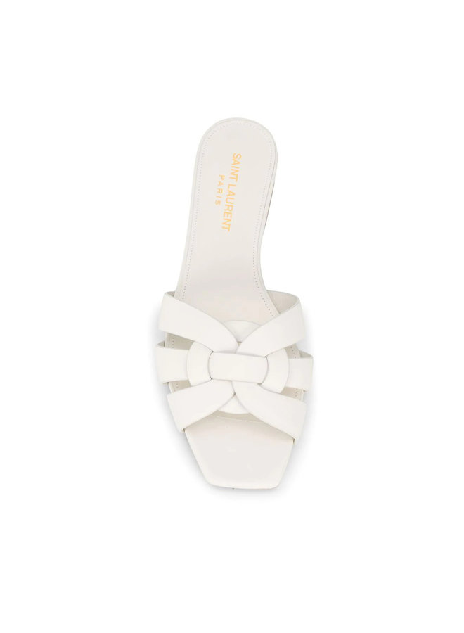 Tribute Flat Sandals in Leather in Off White