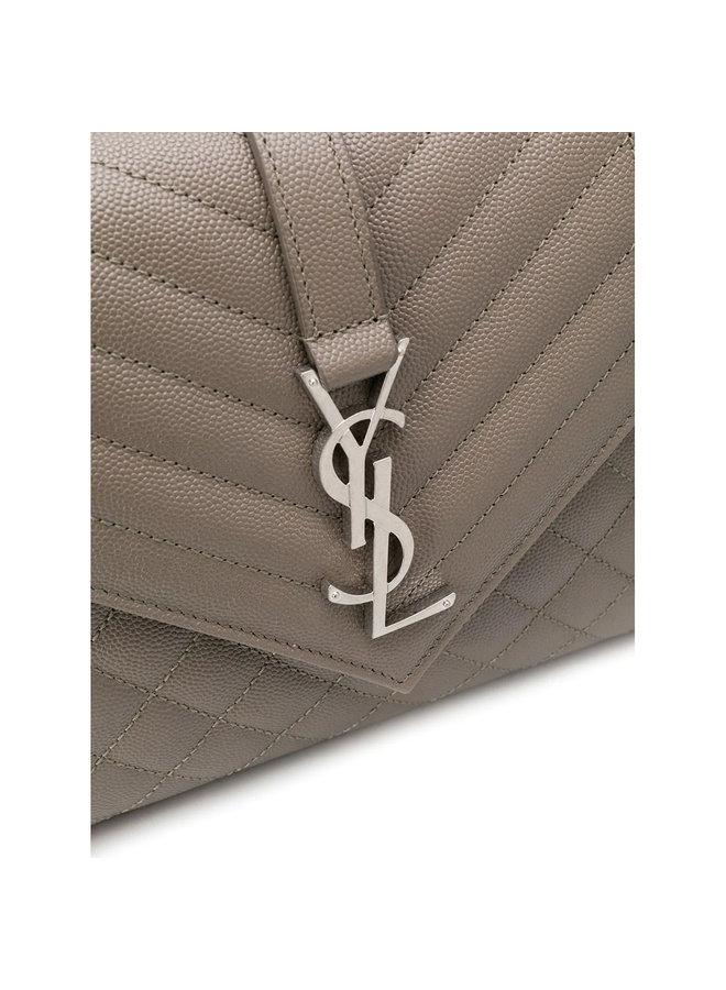 Envelope Medium Shoulder Bag in Leather in Taupe