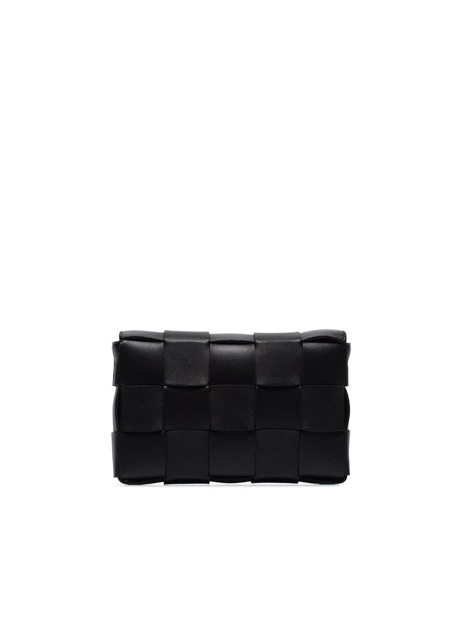 Cassette Crossbody Bag in Intrecciato Leather  in Black