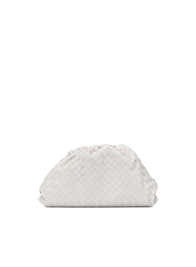 The Pouch Large Clutch Bag in Intrecciato Leather in Chalk